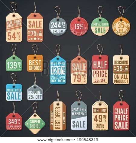Price tags and sale labels with thread. Retail shopping discount card on rope, different badge promotion illustration