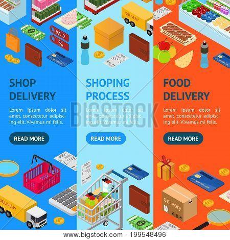E-commerce Banner Vecrtical Set Mobile Shopping Technology Service Isometric View. Vector illustration