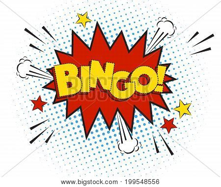 Bingo comic explosion isolated on white, vector illustration. Funny cartoon speech bubble template, big yellow word, graphic elements.