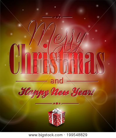 Vector Merry Christmas Illustration With Typographic Design And Gift-box On Shiny Background. Eps 10