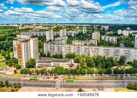 Minsk, Belarus: multi-stored houses in new part of city in the summer