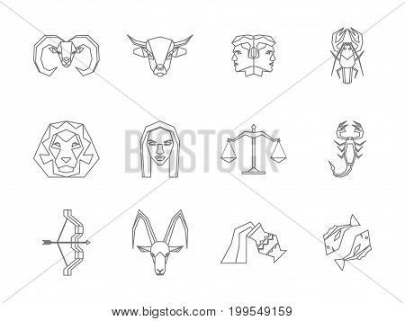 Zodiac Symbol Thin Line Design Style Icons Set Concept Astrological Elements for Web. Vector illustration