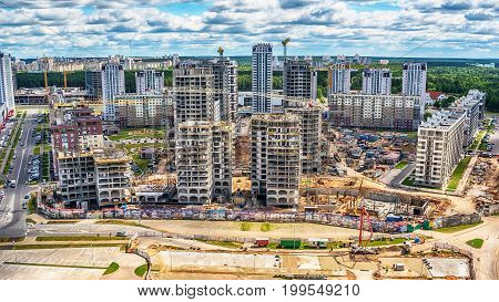 Minsk, Belarus: construction of multi-stored houses in new part of city in the summer