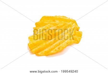 Potato salty chips isolated on white background