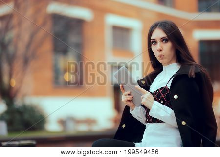 Funny Girl with Tablet PC in University Campus