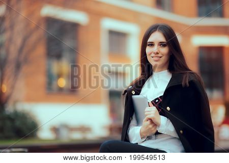Smiling Woman with Tablet PC in University Campus