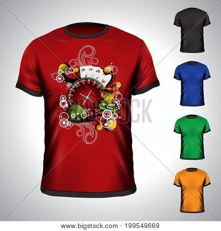 Vector T-shirt Set On A Casino Holiday Theme With Roulette Wheel. Eps 10 Illustration.