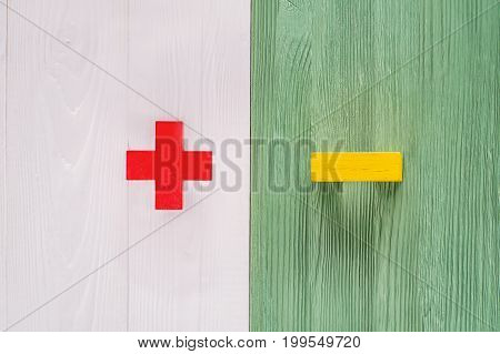 The concept of opposites plus and minus on white and green wooden board flat lay. Wooden figures on a wooden background. Plus versus minus with copy space top view.