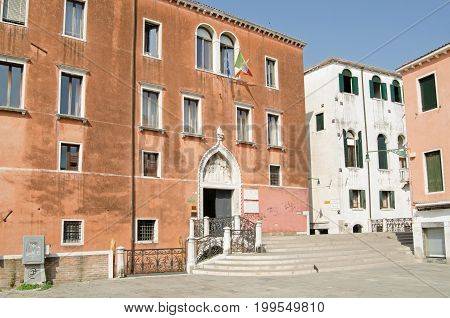 Italian government offices in the historic Campo Sant' Anzolo in Venice Italy. The Corte dei Conti financial court is based here together with the regional immigration office and other bodies. Sunny summer morning.