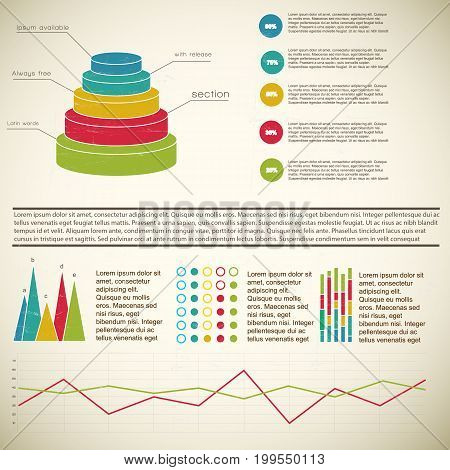 Vintage 3d multicolored diagram infographic with footnotes and definitions on light background vector illustration