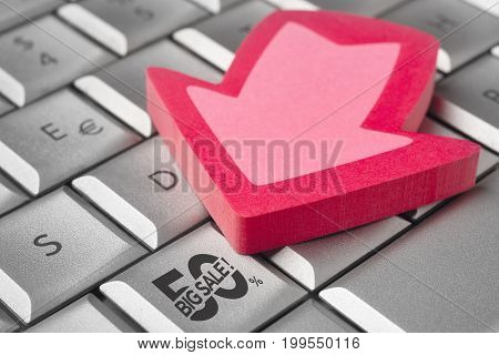 Big sale discount 50% icon on a keyboard. Shopping promotion