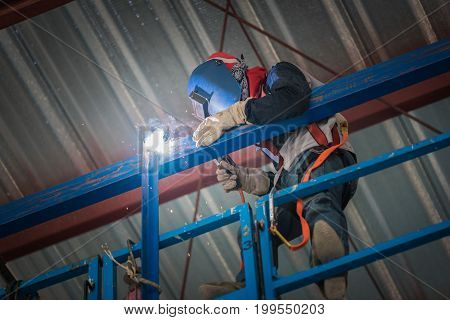Steel welding or welder industrial in the factory with smoke from welding job. Safety in the work