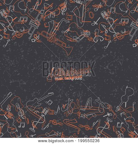 Abstract music background with hand-drawn or linear style musical instruments on black fond vector illustration