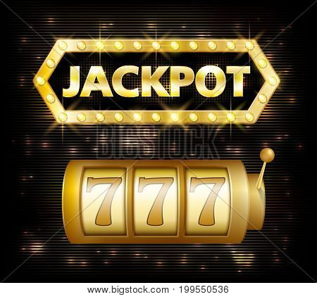 Jackpot casino lotto label background sign. Casino jackpot 777 gamble winner with text shining symbol isolated on white. Vector illustration EPS 10
