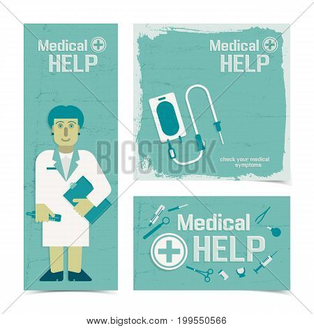 Medical help banners set with nursing staff figurine and instruments for healthcare flat vector illustration