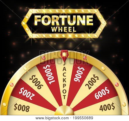 Gold realistic wheel of fortune 3d object isolated on dark background with place for text. lucky roulette vector illustration EPS 10
