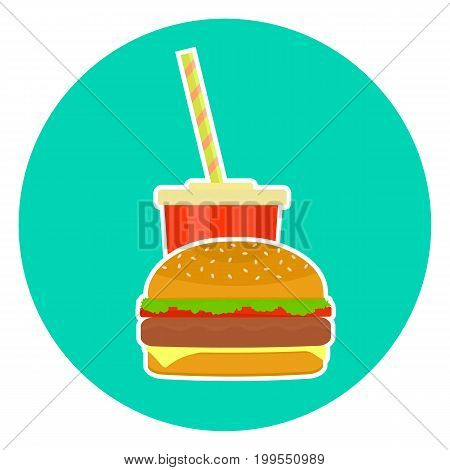 Flat colorful vector lovely fast food couple - cola and hamburger. Cute fastfood burger symbol for cafe bar restaurant menu and web design