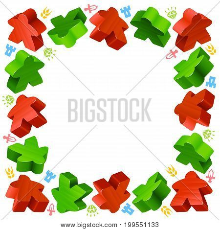 Square frame of meeples for board games. Red and green game pieces, and resources counter icons isolated on white background. Vector border for design boardgames advertisement or template of geek t-shirt print
