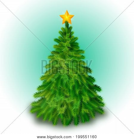 Big christmas tree decorated with yellow star background flat vector illustration