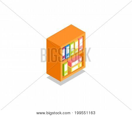 Folder Cupboard Stand icon illustration vector symbol in flat isometric 3D style isolated on white background.
