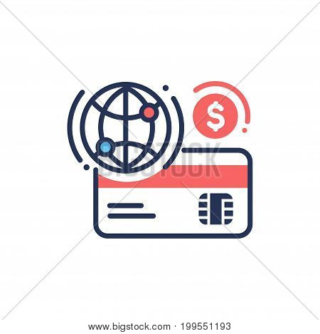 Internet banking - modern vector single line design icon. Credit, debit card, dollar sign, globe in blue and red colors on a white background. Business, finance, online payment method symbol