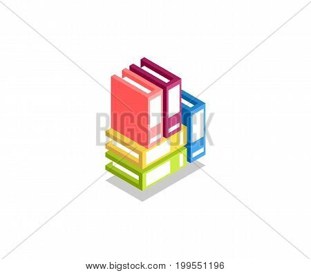 Folder with documents stack of colored folders icon illustration vector symbol in flat isometric 3D style isolated on white background.