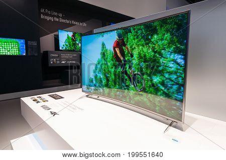 BERLIN - SEPTEMBER 04 2015: Stand of Panasonic. Panasonic announced new OLED TVs. International radio exhibition Berlin (IFA2015).
