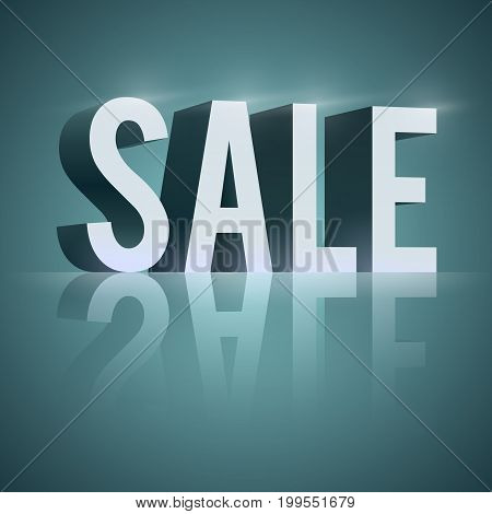 3d word sale with reflection and light effects on blue background isolated vector illustration