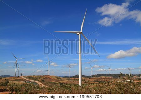 landscape turbine on mountain and bue sky background