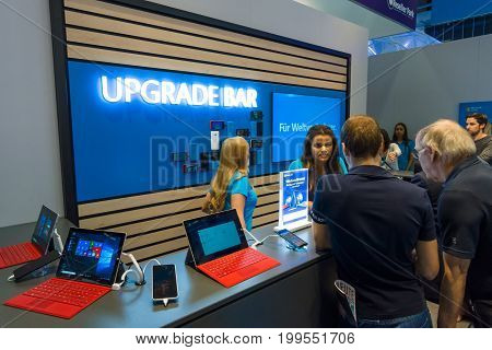 BERLIN - SEPTEMBER 04 2015: Stand of Microsoft. Upgrade Bar for Windows 10. International radio exhibition Berlin (IFA2015).