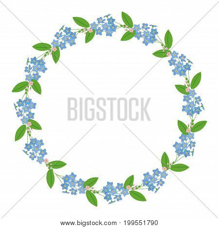 Myosotis forget-me-nots floral plant decor border wreath dark save the date celebration greeting on white