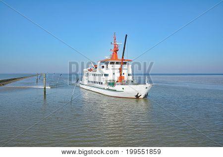 Ferry from Neuharlingersiel to Spiekeroog Island in east Frisia,north Sea,lower saxony,Germany
