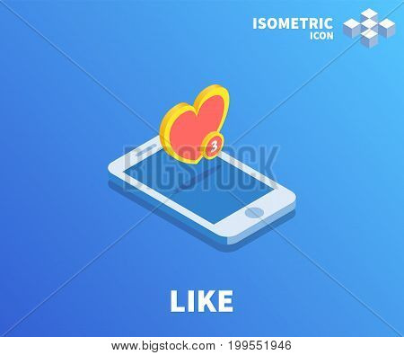 Heart Like icon illustration vector symbol in flat isometric 3D style isolated on color background.