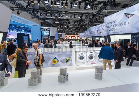 BERLIN - SEPTEMBER 04 2015: Stand of manufacturer of household appliances Miele. International radio exhibition Berlin (IFA2015).