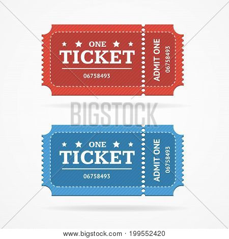 Ticket Icon Blank Admit Set Retro Old Style for Entertainment, Party and Amusement Show. Vector illustration