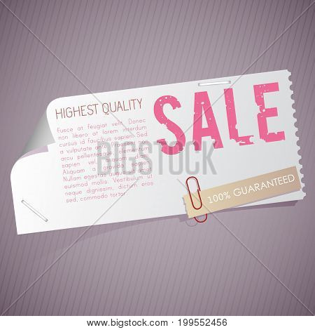 Advertisement and promotion template with vintage sale coupon sticker and clip on purple background isolated vector illustration