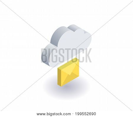 Computer Cloud icon illustration vector symbol in flat isometric 3D style isolated on white background.