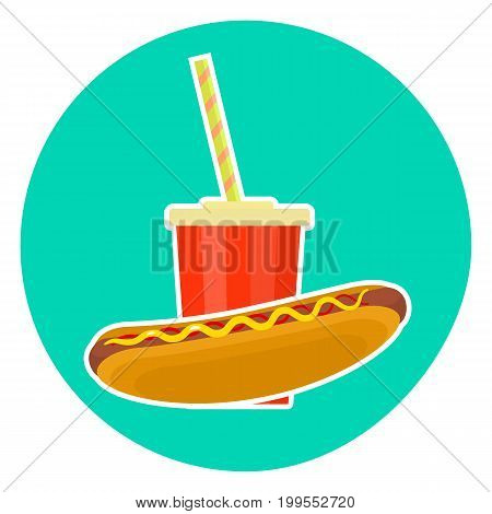 Flat colorful vector lovely fast food couple - cola and hotdog. Cute fastfood symbol for cafe bar restaurant menu and web design