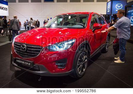 BERLIN - SEPTEMBER 04 2015: The crossover Mazda CX-5 AWD. International radio exhibition Berlin (IFA2015).