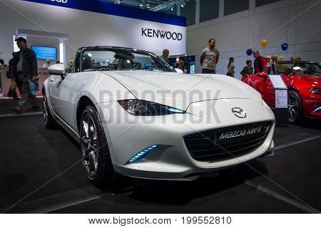 BERLIN - SEPTEMBER 04 2015: Roadster Mazda MX-5. Rear view.International radio exhibition Berlin (IFA2015).