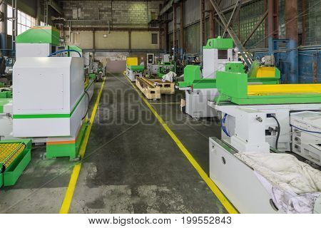 Wide technological travel. Shop factory for the production of metalworking machines.