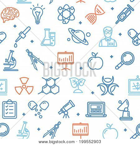 Science Research Flat Pattern With Thin Line Icons. Vector Background Scientific Sign On White