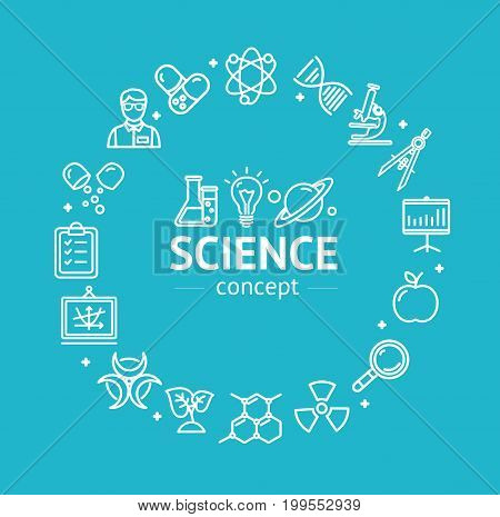 Science Research Thin Line Icon Concept. Vector Scientific Sign Emblem on Blue