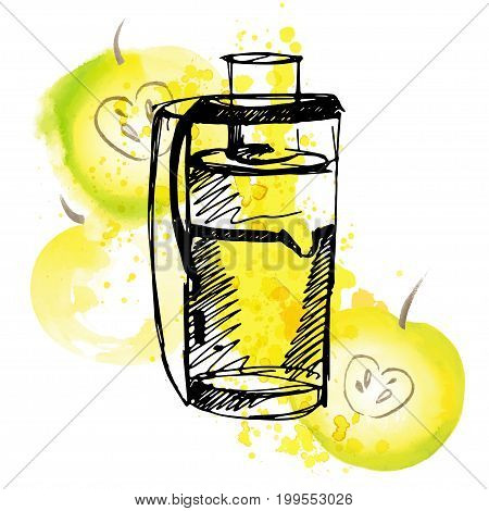 Juicer with apple. Apple juice with juicer and splashes, sketch hand draw illustration with watercolor elements isolated on white background