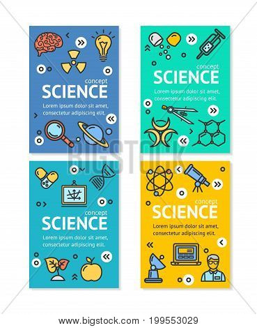 Science Research Flyer Banner Posters Card Set Template witch Color Outline Icons. Vector illustration