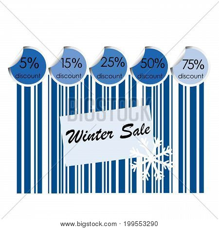 Winter sale background with bar code and snowflake