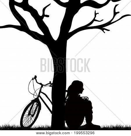 Woman and bicycle leaning against a tree