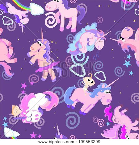 cute unicorn seamless pattern, magic pegasus flying with wing and horn on rainbow, fantasy horse vector illustration, myth creature dreaming background