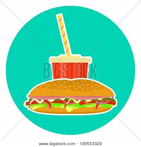 Flat colorful vector lovely fast food couple - cola and sub sandwich. Cute fastfood symbol for cafe bar restaurant menu and web design