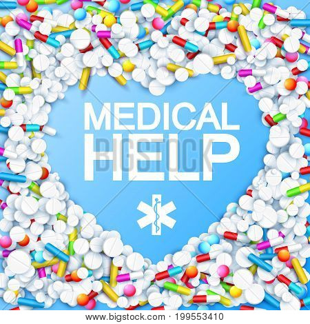 Abstract medication template with heart shape colorful capsules remedies pills and drugs vector illustration